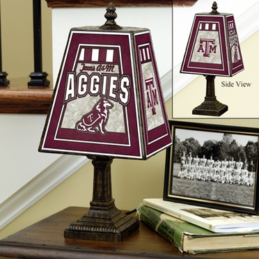 Texas A&M Small Art Glass Lamp