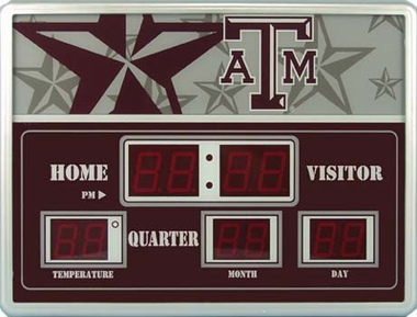 Texas A&M Time / Date / Temp. Scoreboard