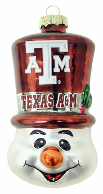 Texas A&M Tophat Snowman Glass Ornament