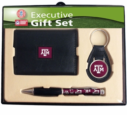 Texas A&M Trifold Wallet Key Fob and Pen Gift Set