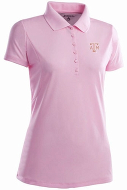 Texas A&M Womens Pique Xtra Lite Polo Shirt (Color: Pink)