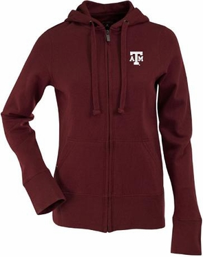 Texas A&M Womens Zip Front Hoody Sweatshirt (Team Color: Maroon)