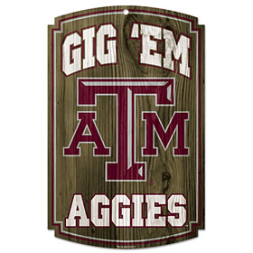 Texas A&M Wood Sign