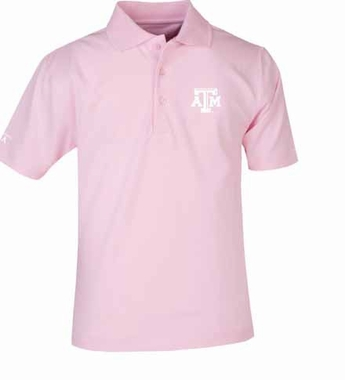 Texas A&M YOUTH Unisex Pique Polo Shirt (Color: Pink)