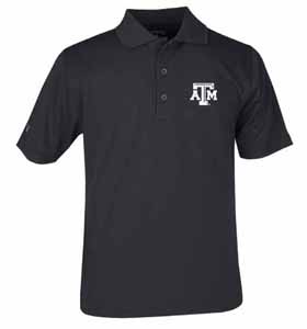Texas A&M YOUTH Unisex Pique Polo Shirt (Team Color: Black) - Large