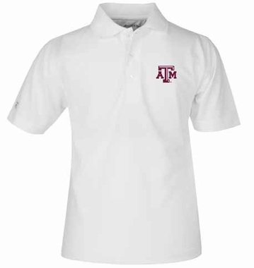 Texas A&M YOUTH Unisex Pique Polo Shirt (Color: White)