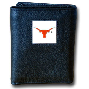 Texas Black Leather Trifold Wallet