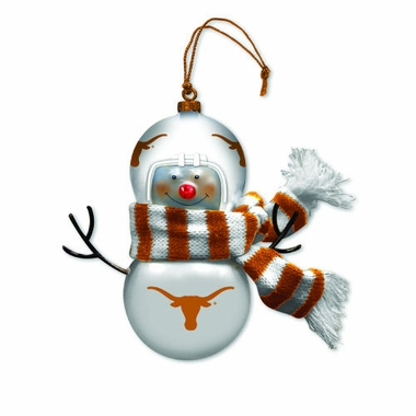Texas Blown Glass Snowman Ornament (Set of 2)