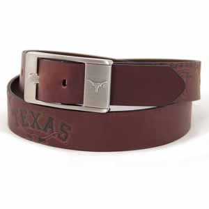 Texas Brown Leather Brandished Belt - 34 Waist