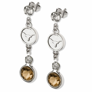 Texas Crystal Logo Dangle Earrings