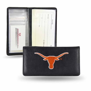 Texas Embroidered Leather Checkbook Cover
