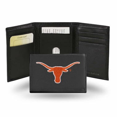 Texas Embroidered Leather Tri-Fold Wallet