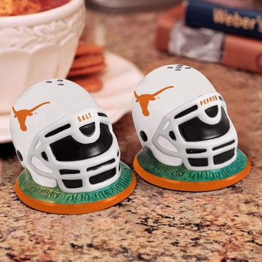 Texas Helmet Ceramic Salt and Pepper Shakers