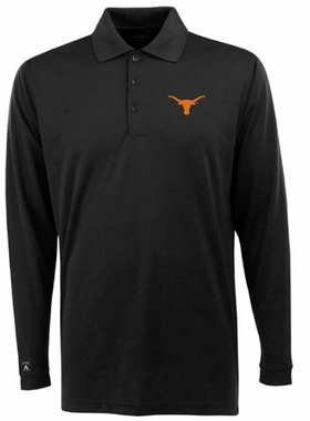 Texas Mens Long Sleeve Polo Shirt (Team Color: Black)