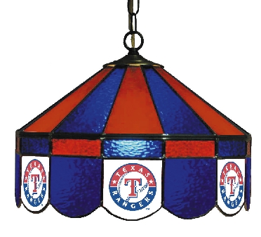 Texas Rangers 16 Inch Diameter Stained Glass Pub Light