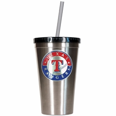 Texas Rangers 16oz Stainless Steel Insulated Tumbler with Straw