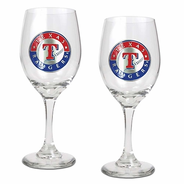 Texas Rangers 2 Piece Wine Glass Set