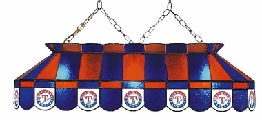 Texas Rangers 40 Inch Rectangular Stained Glass Billiard Light