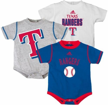 Texas Rangers Adidas 3 Pack Bodysuit Creeper Set