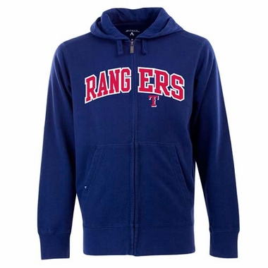 Texas Rangers Mens Applique Full Zip Hooded Sweatshirt (Color: Royal)