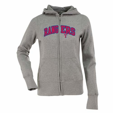 Texas Rangers Applique Womens Zip Front Hoody Sweatshirt (Color: Gray)