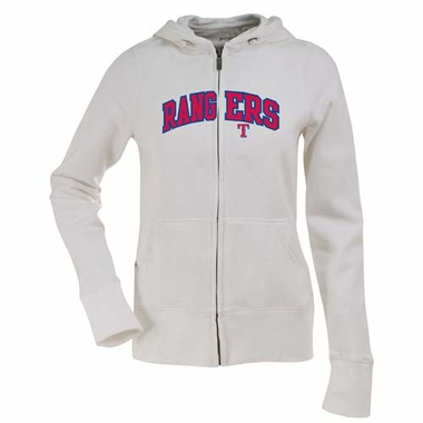 Texas Rangers Applique Womens Zip Front Hoody Sweatshirt (Color: White)
