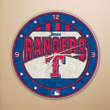 Texas Rangers Art Glass Clock