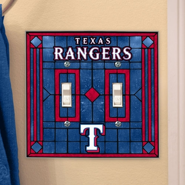 Texas Rangers Art Glass Lightswitch Cover (Double)