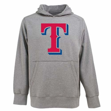 Texas Rangers Big Logo Mens Signature Hooded Sweatshirt (Color: Gray)