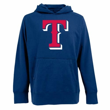 Texas Rangers Big Logo Mens Signature Hooded Sweatshirt (Color: Royal)