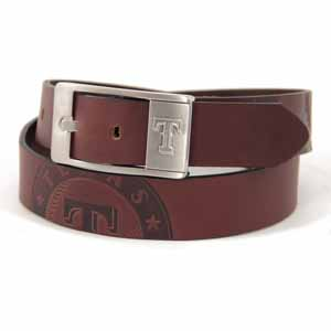 Texas Rangers Brown Leather Brandished Belt - Size 34 (For 32 Inch Waist)