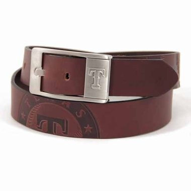 Texas Rangers Brown Leather Brandished Belt
