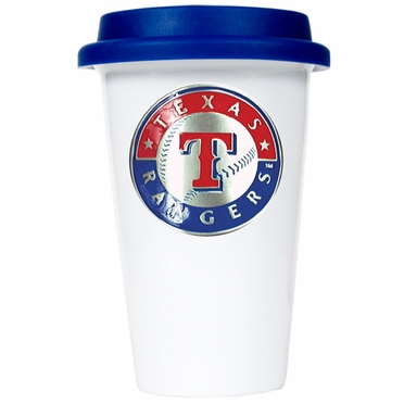 Texas Rangers Ceramic Travel Cup (Team Color Lid)