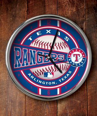 Texas Rangers Chrome Clock