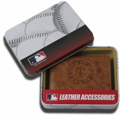 Texas Rangers Embossed Leather Trifold Wallet