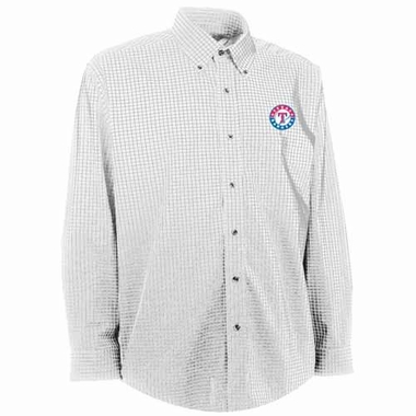 Texas Rangers Mens Esteem Check Pattern Button Down Dress Shirt (Color: White)