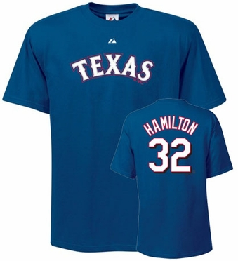 Texas Rangers Josh Hamilton Name and Number T-Shirt