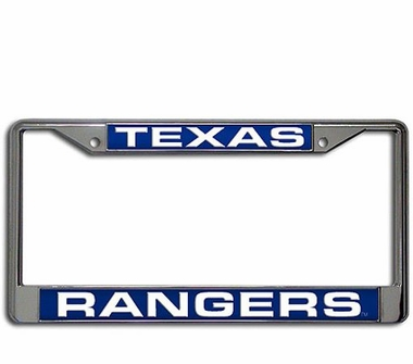 Texas Rangers Laser Etched Chrome License Plate Frame