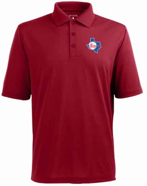 Texas Rangers Mens Pique Xtra Lite Polo Shirt (Cooperstown) (Team Color: Red)