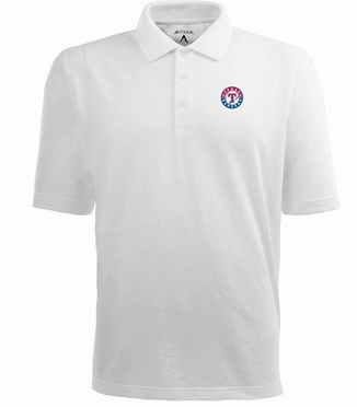 Texas Rangers Mens Pique Xtra Lite Polo Shirt (Color: White)