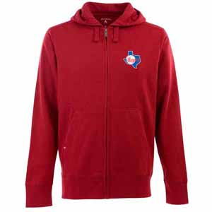 Texas Rangers Mens Signature Full Zip Hooded Sweatshirt (Cooperstown) (Team Color: Red) - Small