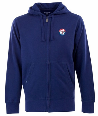 Texas Rangers Mens Signature Full Zip Hooded Sweatshirt (Team Color: Royal)