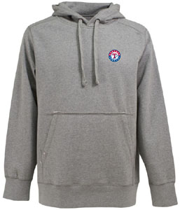 Texas Rangers Mens Signature Hooded Sweatshirt (Color: Gray) - Small