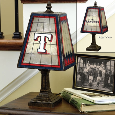 Texas Rangers Small Art Glass Lamp