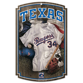 Texas Rangers Throwback Wood Sign
