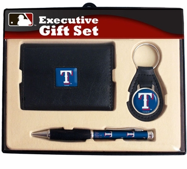 Texas Rangers Trifold Wallet Key Fob and Pen Gift Set