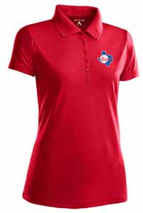 Texas Rangers Womens Pique Xtra Lite Polo Shirt (Cooperstown) (Team Color: Red) - Medium
