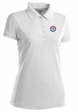 Texas Rangers Womens Pique Xtra Lite Polo Shirt (Color: White) - X-Large