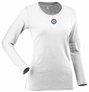 Texas Rangers Womens Relax Long Sleeve Tee (Color: White) - Large