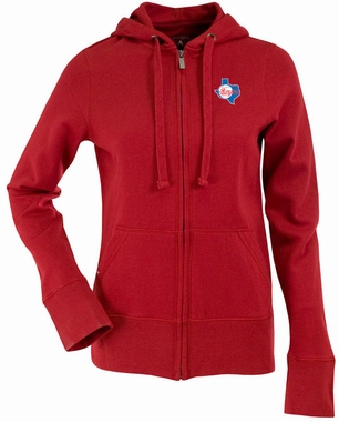 Texas Rangers Womens Zip Front Hoody Sweatshirt (Cooperstown) (Team Color: Red)
